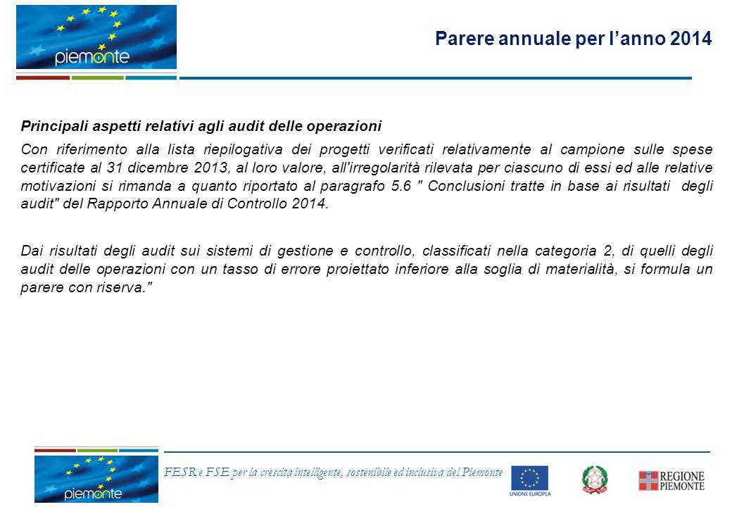 FESR e FSE per la crescita intelligente, sostenibile ed inclusiva del Piemonte Principali aspetti relativi agli audit delle operazioni Con riferimento
