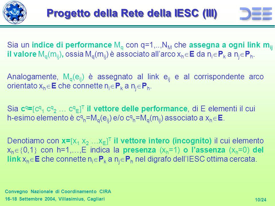 Convegno Nazionale di Coordinamento CIRA 16-18 Settembre 2004, Villasimius, Cagliari 10/24 Progetto della Rete della IESC (III) Sia un indice di performance M q con q=1,..,N M che assegna a ogni link m ij il valore M q (m ij ), ossia M q (m ij ) è associato all'arco x h  E da n i  P k a n j  P h.