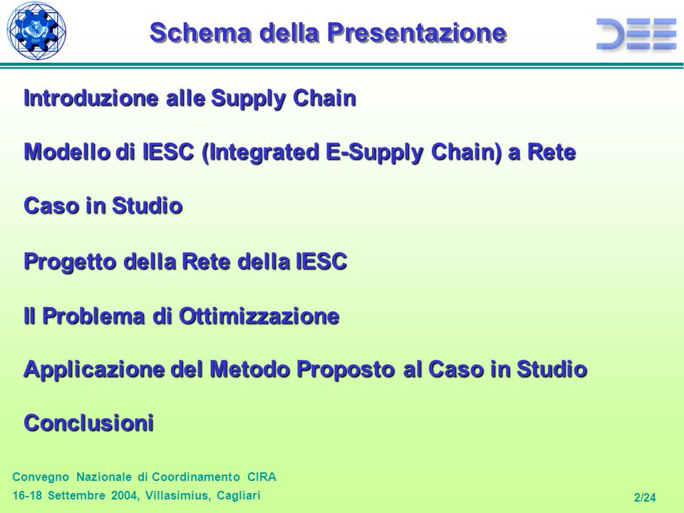 Convegno Nazionale di Coordinamento CIRA 16-18 Settembre 2004, Villasimius, Cagliari 2/24 Introduzione alle Supply Chain Schema della Presentazione Modello di IESC (Integrated E-Supply Chain) a Rete Caso in Studio Progetto della Rete della IESC Applicazione del Metodo Proposto al Caso in Studio Conclusioni Il Problema di Ottimizzazione