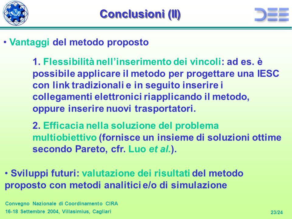 Convegno Nazionale di Coordinamento CIRA 16-18 Settembre 2004, Villasimius, Cagliari 23/24 Conclusioni (II) Vantaggi del metodo proposto Sviluppi futu