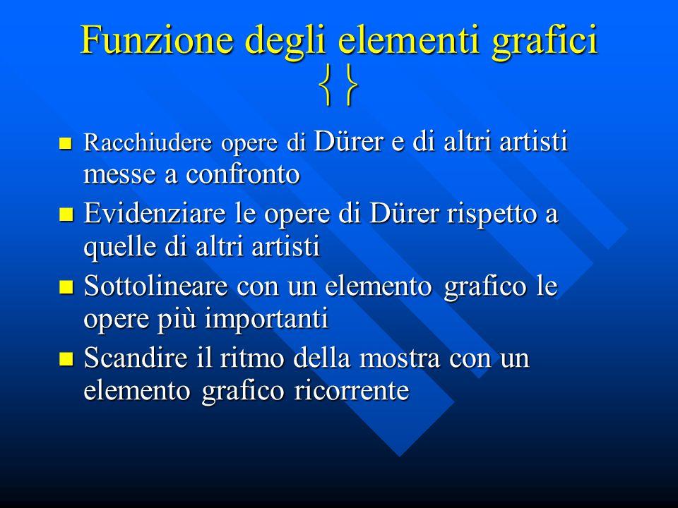 Funzione degli elementi grafici  Racchiudere opere di Dürer e di altri artisti messe a confronto Racchiudere opere di Dürer e di altri artisti messe