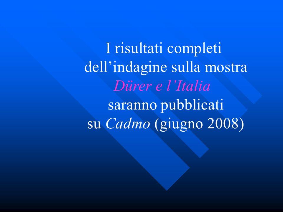 I risultati completi dell'indagine sulla mostra Dürer e l'Italia saranno pubblicati su Cadmo (giugno 2008)