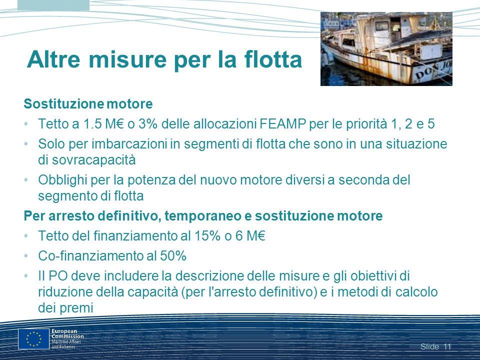 Slide11 Altre misure per la flotta Sostituzione motore Tetto a 1.5 M€ o 3% delle allocazioni FEAMP per le priorità 1, 2 e 5 Solo per imbarcazioni in s