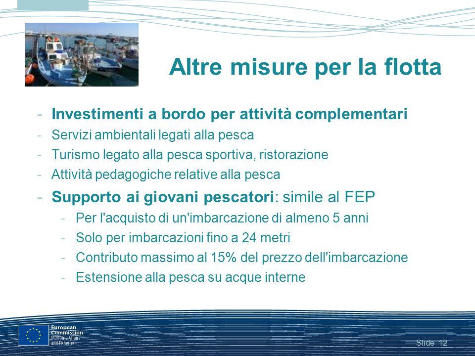 Slide12 Altre misure per la flotta -Investimenti a bordo per attività complementari -Servizi ambientali legati alla pesca -Turismo legato alla pesca s