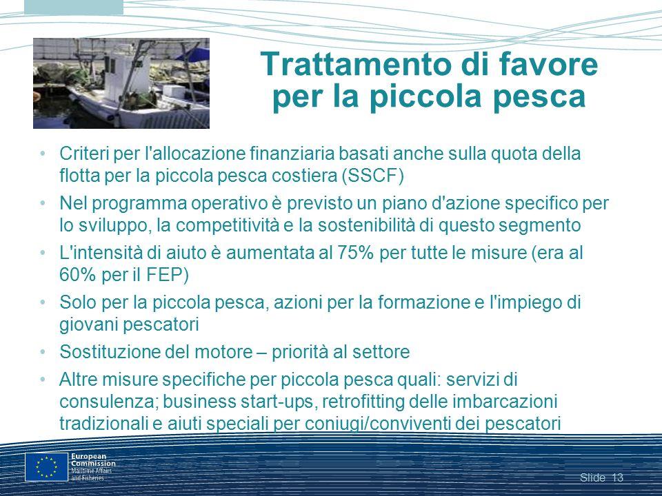 Slide13 Trattamento di favore per la piccola pesca Criteri per l'allocazione finanziaria basati anche sulla quota della flotta per la piccola pesca co