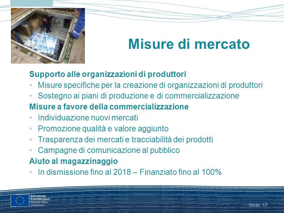 Slide17 Misure di mercato Supporto alle organizzazioni di produttori Misure specifiche per la creazione di organizzazioni di produttori Sostegno ai pi