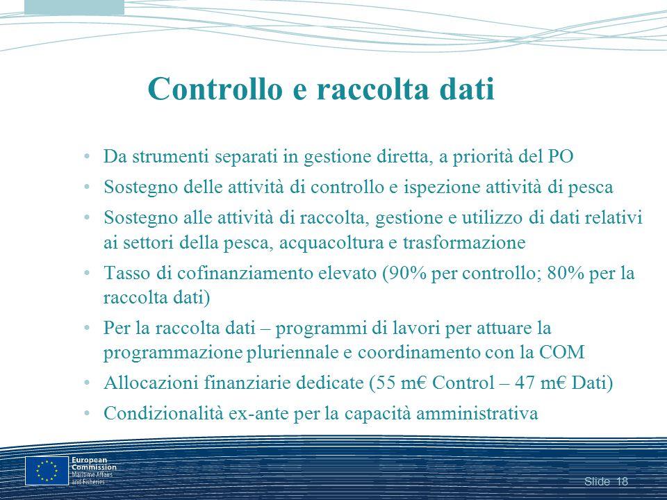 Slide Controllo e raccolta dati Da strumenti separati in gestione diretta, a priorità del PO Sostegno delle attività di controllo e ispezione attività