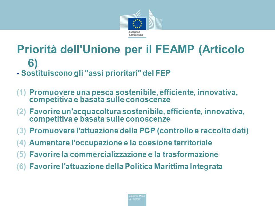Priorità dell'Unione per il FEAMP (Articolo 6) - Sostituiscono gli