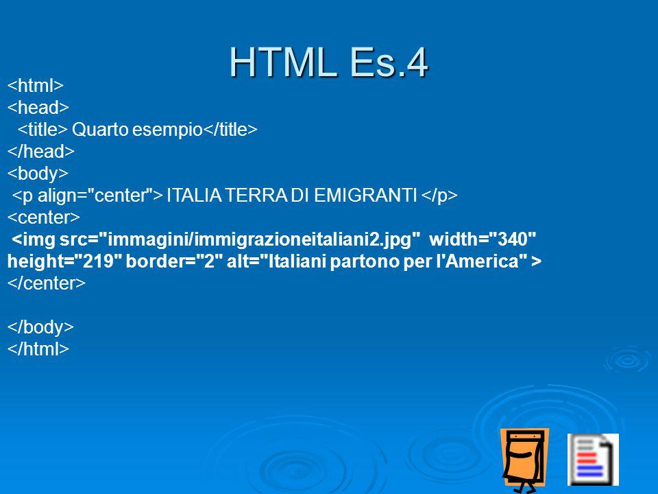 Quarto esempio ITALIA TERRA DI EMIGRANTI <img src= immagini/immigrazioneitaliani2.jpg width= 340 height= 219 border= 2 alt= Italiani partono per l America > HTML Es.4
