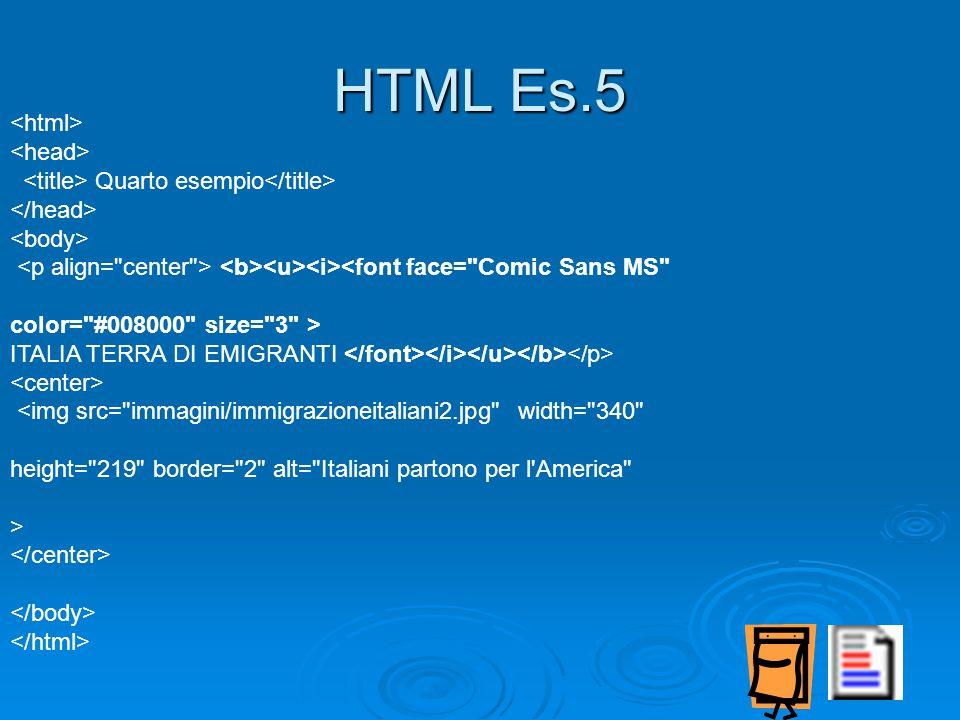 Quarto esempio <font face= Comic Sans MS color= #008000 size= 3 > ITALIA TERRA DI EMIGRANTI <img src= immagini/immigrazioneitaliani2.jpg width= 340 height= 219 border= 2 alt= Italiani partono per l America > HTML Es.5