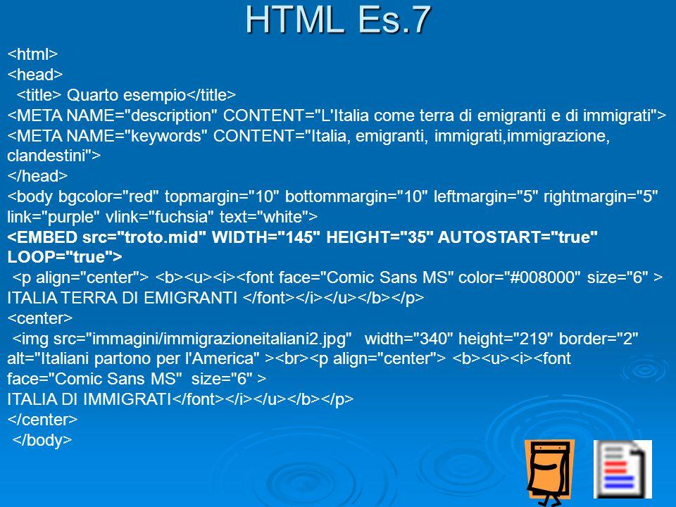 Quarto esempio ITALIA TERRA DI EMIGRANTI ITALIA DI IMMIGRATI HTML Es.7