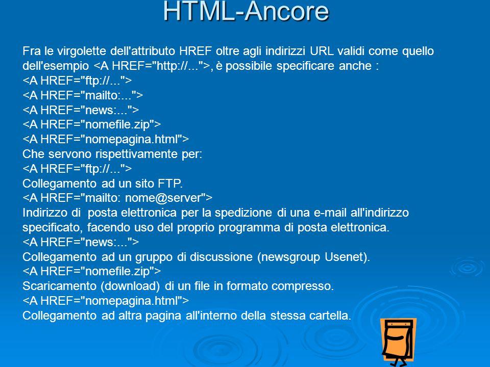 HTML-Ancore Fra le virgolette dell attributo HREF oltre agli indirizzi URL validi come quello dell esempio, è possibile specificare anche : Che servono rispettivamente per: Collegamento ad un sito FTP.