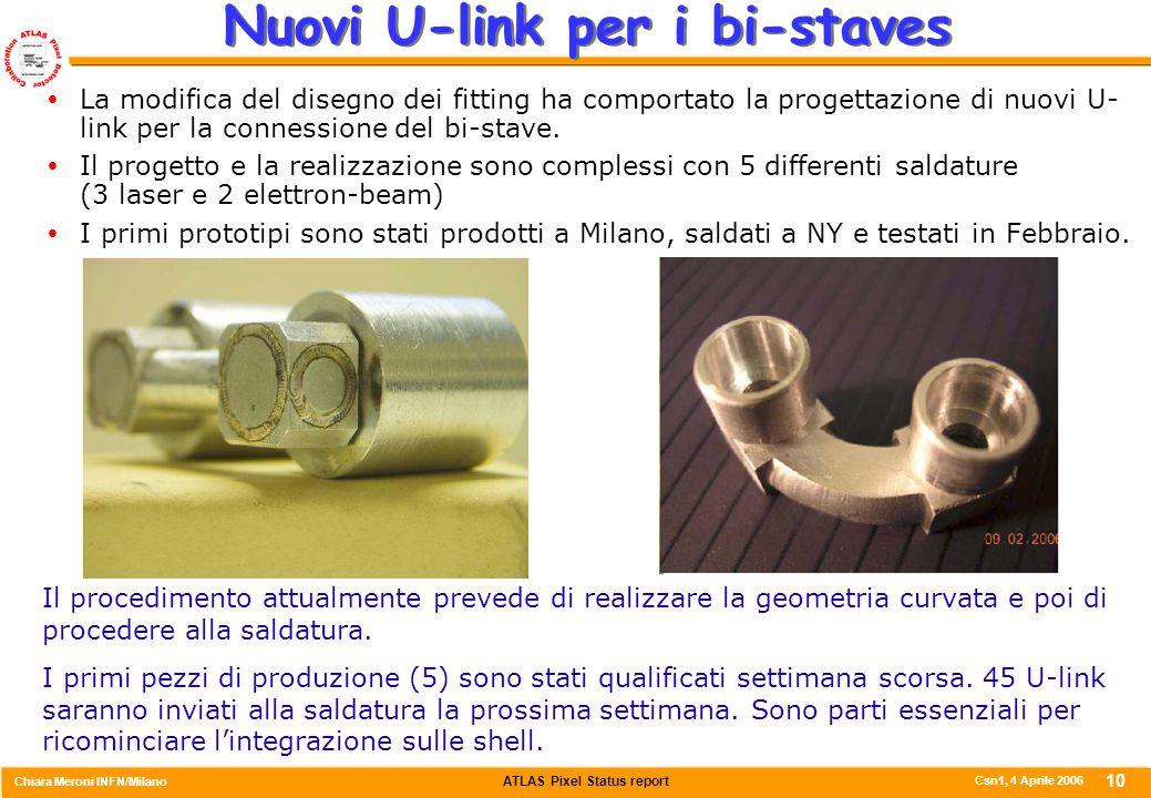 ATLAS Pixel Status report Chiara Meroni INFN/Milano Csn1, 4 Aprile 2006 10 Nuovi U-link per i bi-staves  La modifica del disegno dei fitting ha compo