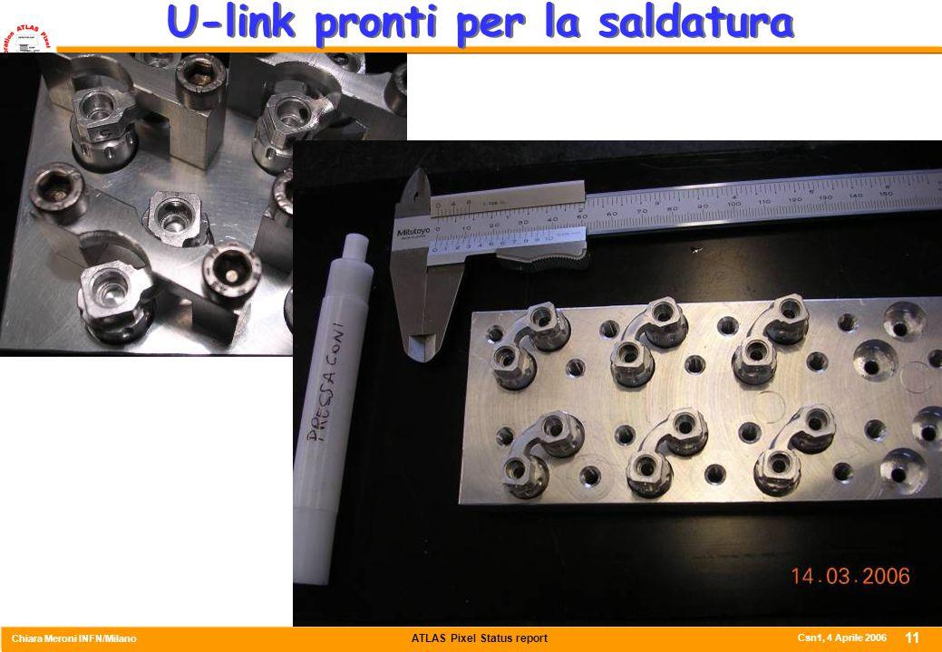 ATLAS Pixel Status report Chiara Meroni INFN/Milano Csn1, 4 Aprile 2006 11 U-link pronti per la saldatura