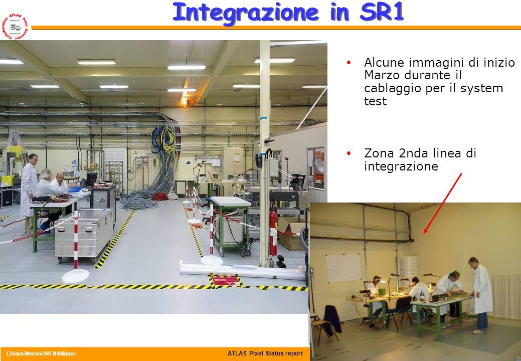 ATLAS Pixel Status report Chiara Meroni INFN/Milano Csn1, 4 Aprile 2006 20 Integrazione in SR1  Alcune immagini di inizio Marzo durante il cablaggio per il system test  Zona 2nda linea di integrazione