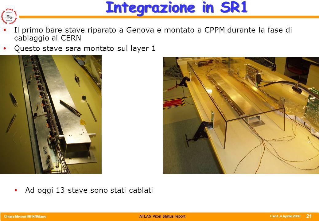 ATLAS Pixel Status report Chiara Meroni INFN/Milano Csn1, 4 Aprile 2006 21 Integrazione in SR1  Il primo bare stave riparato a Genova e montato a CPP
