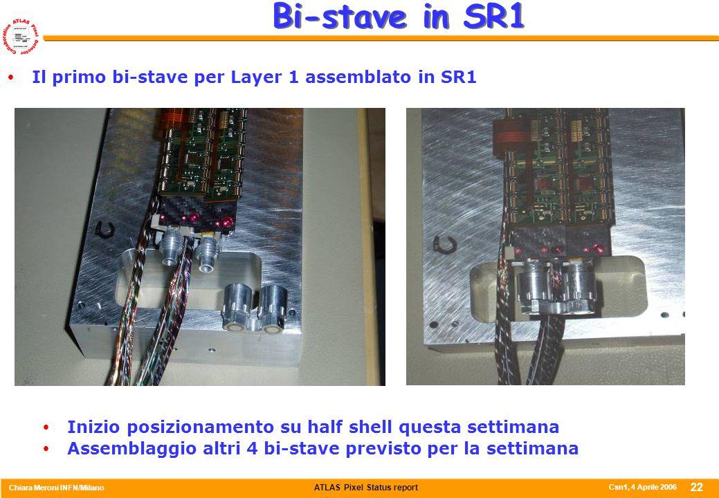 ATLAS Pixel Status report Chiara Meroni INFN/Milano Csn1, 4 Aprile 2006 22 Bi-stave in SR1  Il primo bi-stave per Layer 1 assemblato in SR1  Inizio posizionamento su half shell questa settimana  Assemblaggio altri 4 bi-stave previsto per la settimana