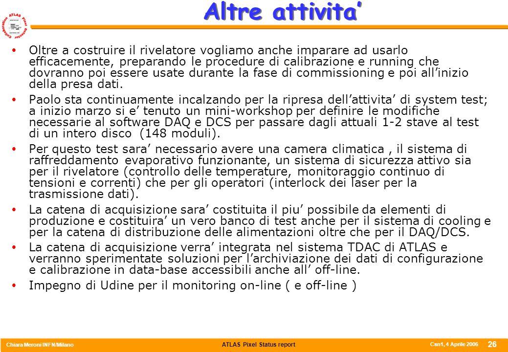 ATLAS Pixel Status report Chiara Meroni INFN/Milano Csn1, 4 Aprile 2006 26 Altre attivita'  Oltre a costruire il rivelatore vogliamo anche imparare a