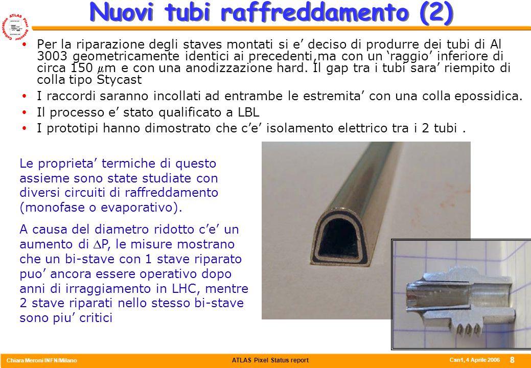 ATLAS Pixel Status report Chiara Meroni INFN/Milano Csn1, 4 Aprile 2006 8 Nuovi tubi raffreddamento (2)  Per la riparazione degli staves montati si e