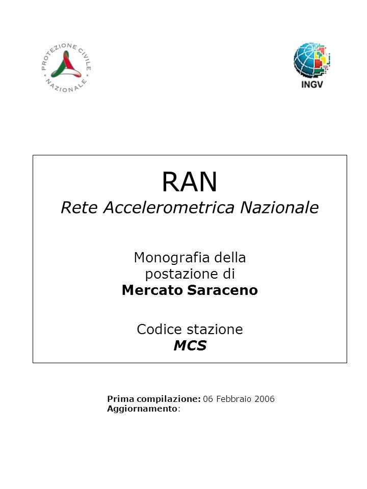 RAN Rete Accelerometrica Nazionale Monografia della postazione di Mercato Saraceno Codice stazione MCS Prima compilazione: 06 Febbraio 2006 Aggiornamento: