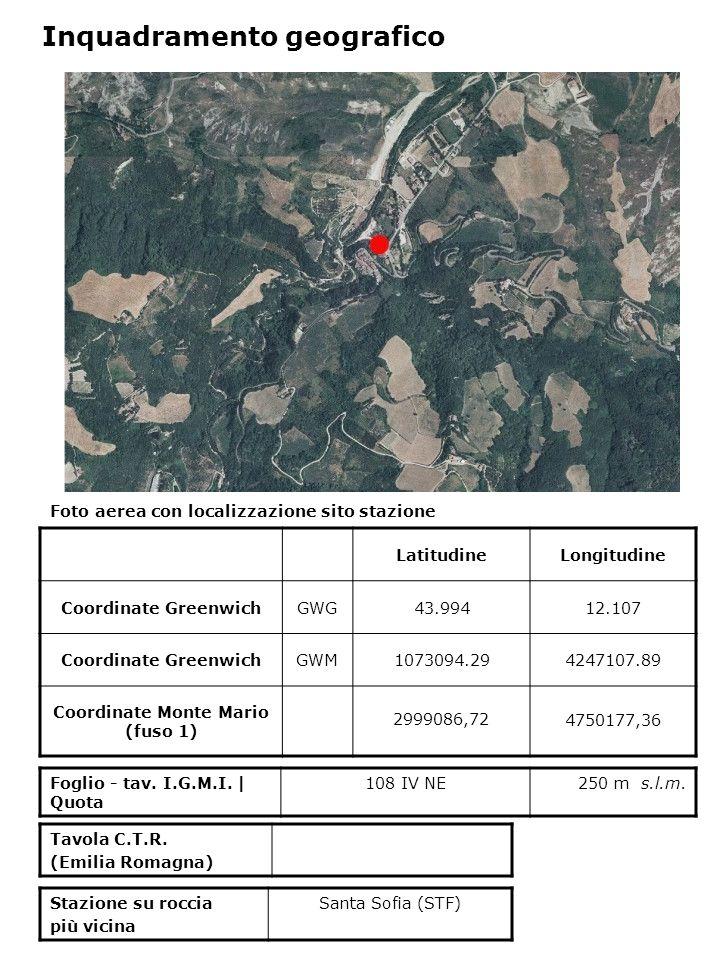 Foto aerea con localizzazione sito stazione LatitudineLongitudine Coordinate GreenwichGWG43.99412.107 Coordinate GreenwichGWM1073094.294247107.89 Coordinate Monte Mario (fuso 1) 2999086,72 4750177,36 Foglio - tav.
