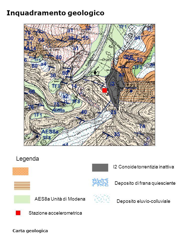 Carta geologica Inquadramento geologico Legenda AES8a Unità di Modena I2 Conoide torrentizia inattiva Deposito di frana quiesciente Deposito eluvio-colluviale Stazione accelerometrica