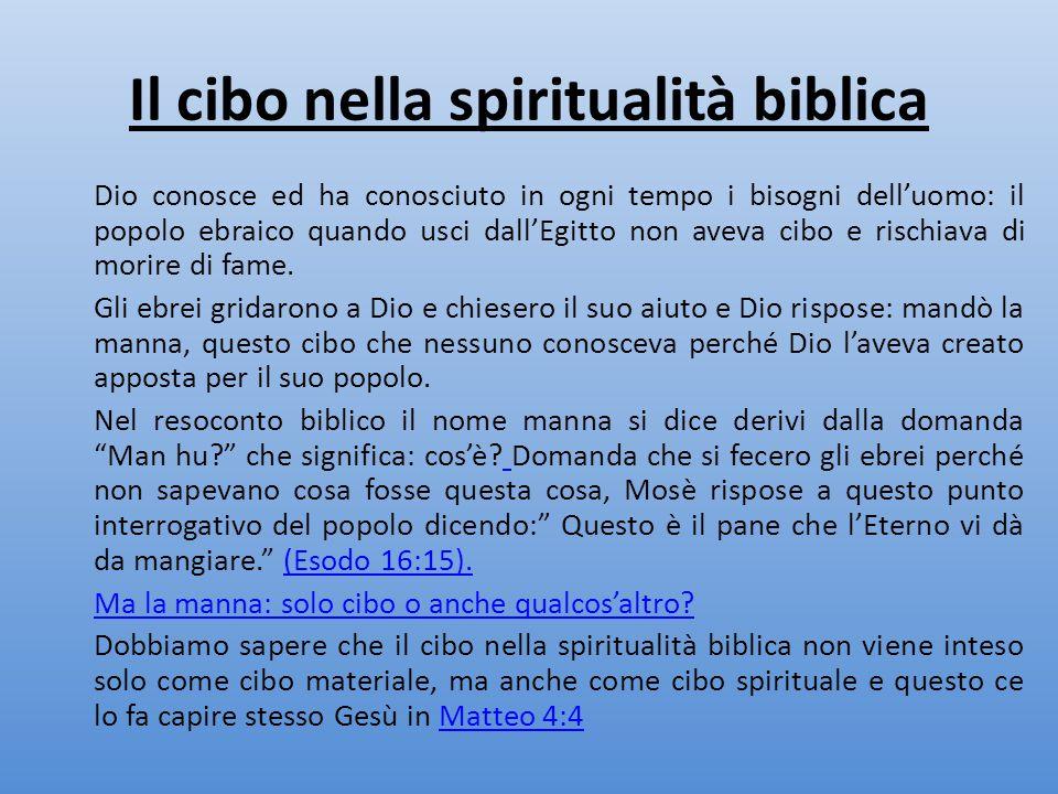 Il cibo nella spiritualità biblica Dio conosce ed ha conosciuto in ogni tempo i bisogni dell'uomo: il popolo ebraico quando usci dall'Egitto non aveva