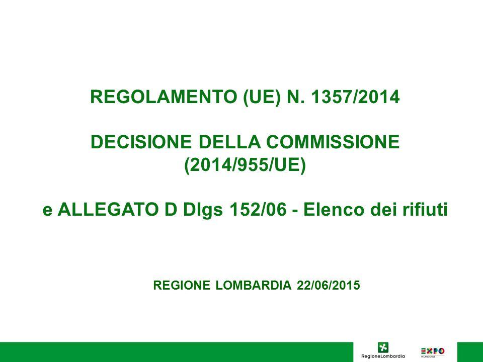 REGOLAMENTO (UE) N. 1357/2014 DECISIONE DELLA COMMISSIONE (2014/955/UE) e ALLEGATO D Dlgs 152/06 - Elenco dei rifiuti REGIONE LOMBARDIA 22/06/2015