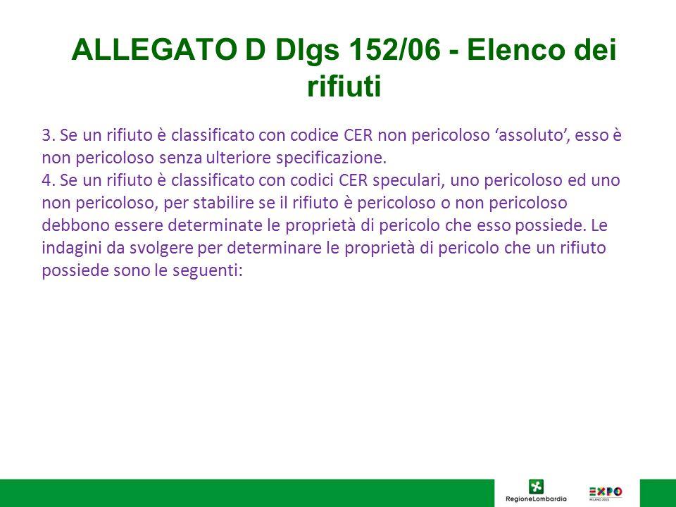 ALLEGATO D Dlgs 152/06 - Elenco dei rifiuti 3. Se un rifiuto è classificato con codice CER non pericoloso 'assoluto', esso è non pericoloso senza ulte