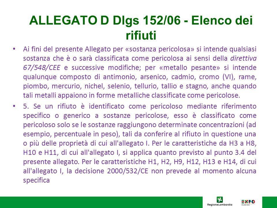 ALLEGATO D Dlgs 152/06 - Elenco dei rifiuti Ai fini del presente Allegato per «sostanza pericolosa» si intende qualsiasi sostanza che è o sarà classif