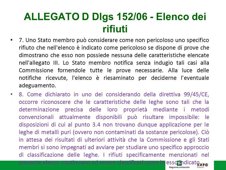 ALLEGATO D Dlgs 152/06 - Elenco dei rifiuti 7. Uno Stato membro può considerare come non pericoloso uno specifico rifiuto che nell'elenco è indicato c
