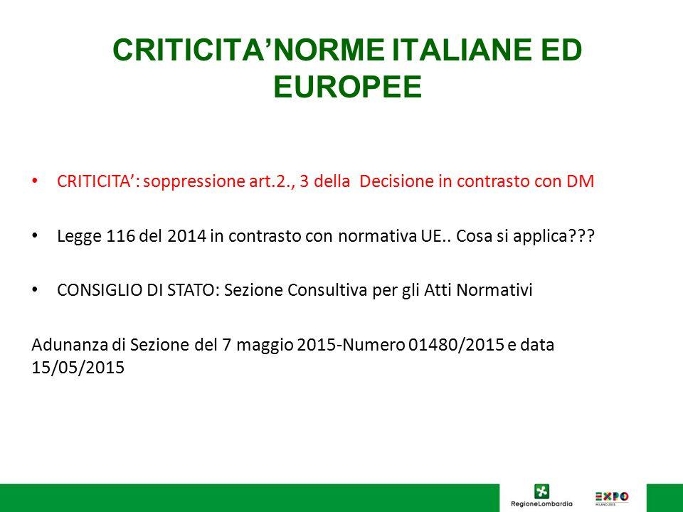 CRITICITA'NORME ITALIANE ED EUROPEE CRITICITA': soppressione art.2., 3 della Decisione in contrasto con DM Legge 116 del 2014 in contrasto con normati