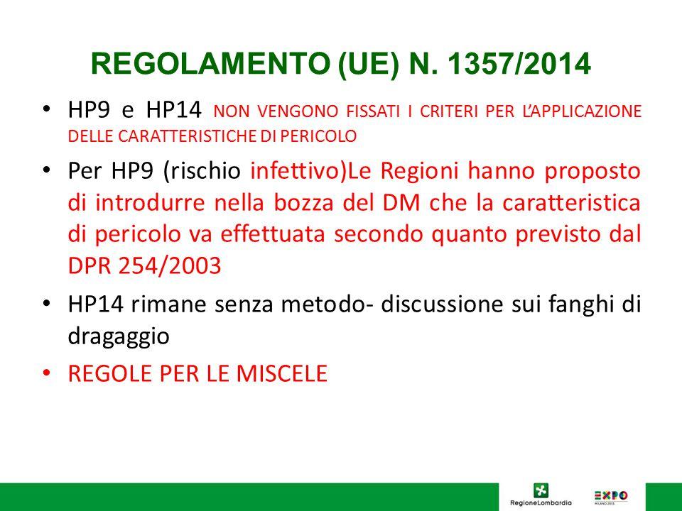 REGOLAMENTO (UE) N. 1357/2014 HP9 e HP14 NON VENGONO FISSATI I CRITERI PER L'APPLICAZIONE DELLE CARATTERISTICHE DI PERICOLO Per HP9 (rischio infettivo
