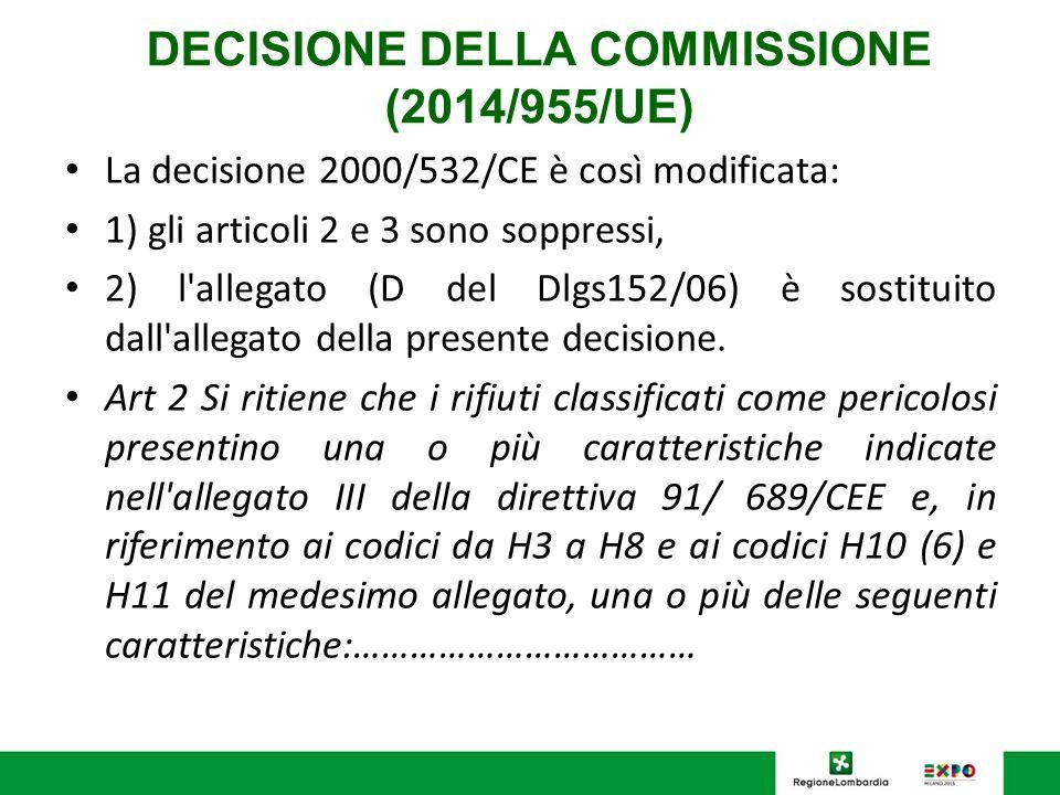 DECISIONE DELLA COMMISSIONE (2014/955/UE) La decisione 2000/532/CE è così modificata: 1) gli articoli 2 e 3 sono soppressi, 2) l'allegato (D del Dlgs1