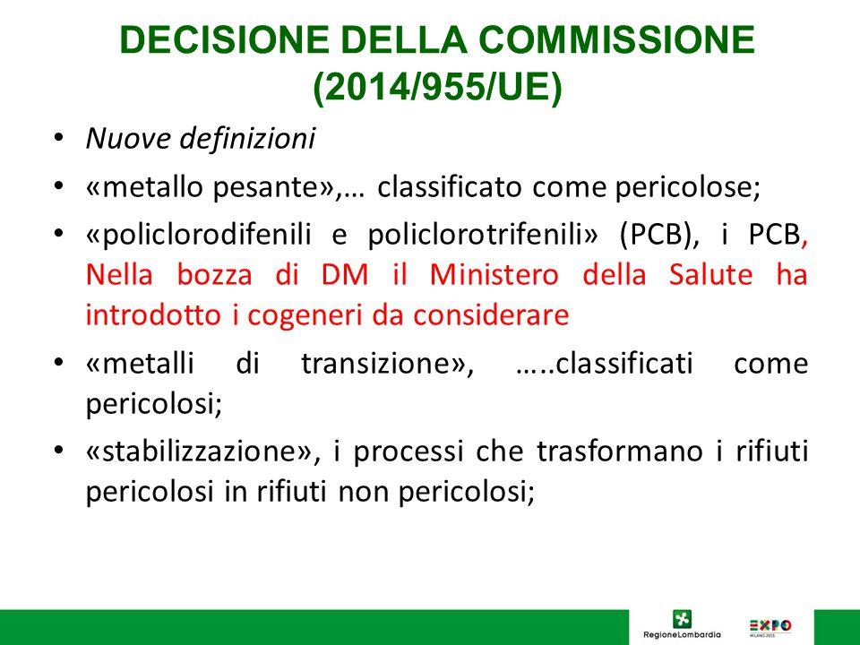 DECISIONE DELLA COMMISSIONE (2014/955/UE) Nuove definizioni «metallo pesante»,… classificato come pericolose; «policlorodifenili e policlorotrifenili»