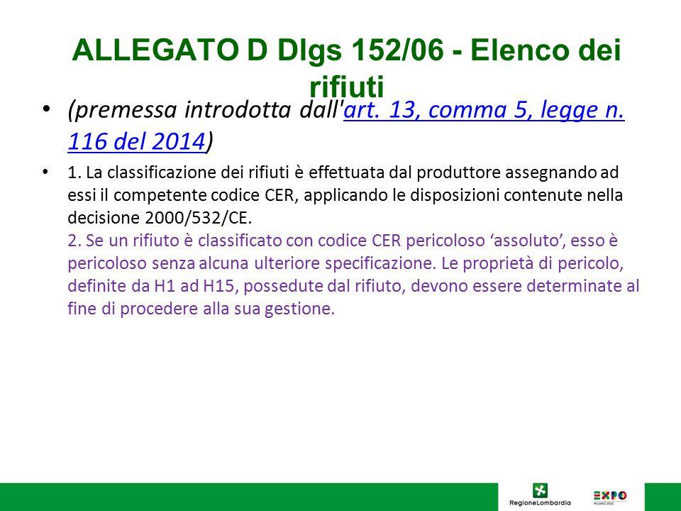 ALLEGATO D Dlgs 152/06 - Elenco dei rifiuti (premessa introdotta dall'art. 13, comma 5, legge n. 116 del 2014)art. 13, comma 5, legge n. 116 del 2014