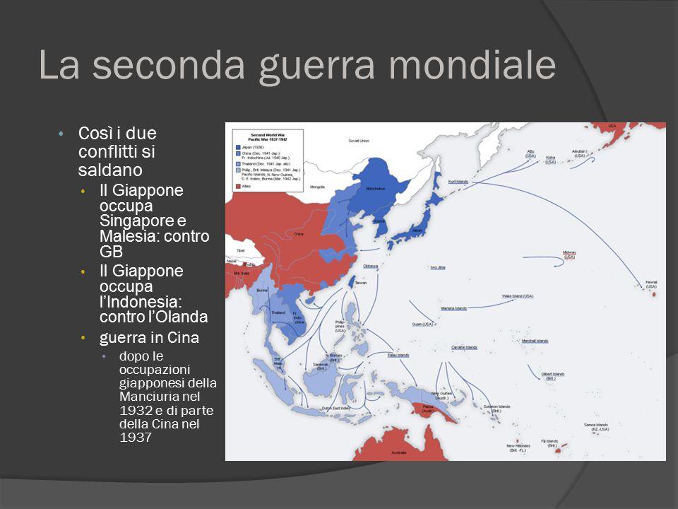 La seconda guerra mondiale Così i due conflitti si saldano Il Giappone occupa Singapore e Malesia: contro GB Il Giappone occupa l'Indonesia: contro l'