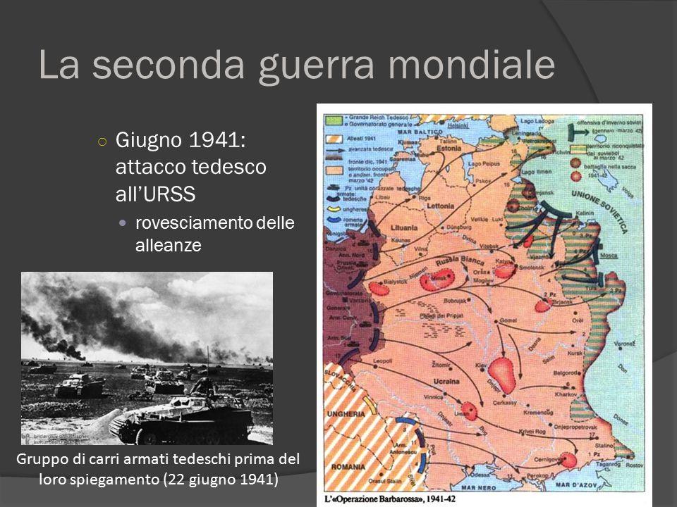 La seconda guerra mondiale ○ Giugno 1941: attacco tedesco all'URSS rovesciamento delle alleanze Gruppo di carri armati tedeschi prima del loro spiegam