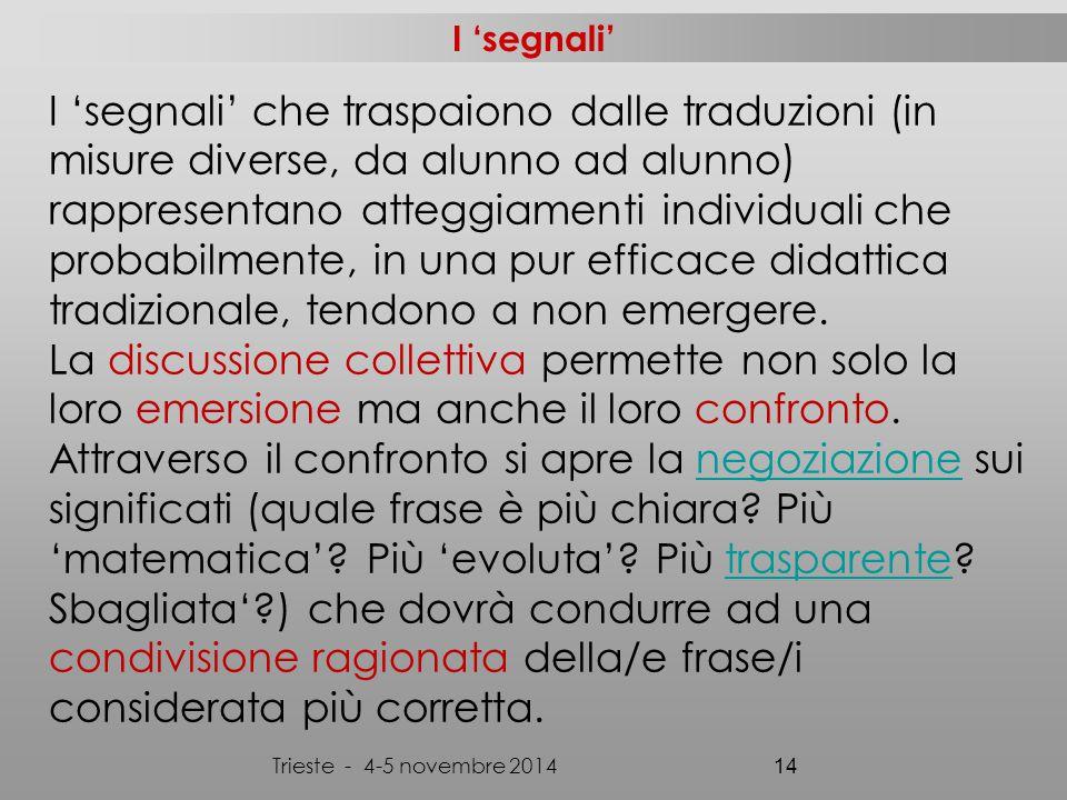 Trieste - 4-5 novembre 2014 14 I 'segnali' I 'segnali' che traspaiono dalle traduzioni (in misure diverse, da alunno ad alunno) rappresentano atteggiamenti individuali che probabilmente, in una pur efficace didattica tradizionale, tendono a non emergere.