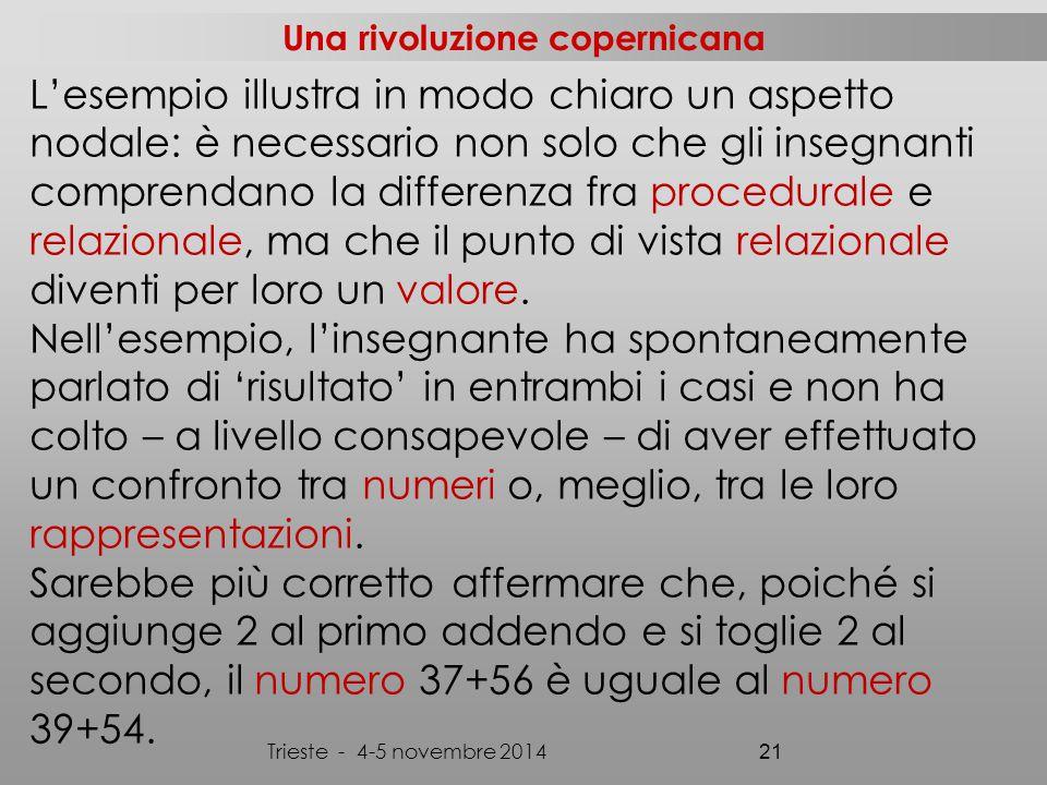 Una rivoluzione copernicana Trieste - 4-5 novembre 2014 21 L'esempio illustra in modo chiaro un aspetto nodale: è necessario non solo che gli insegnanti comprendano la differenza fra procedurale e relazionale, ma che il punto di vista relazionale diventi per loro un valore.