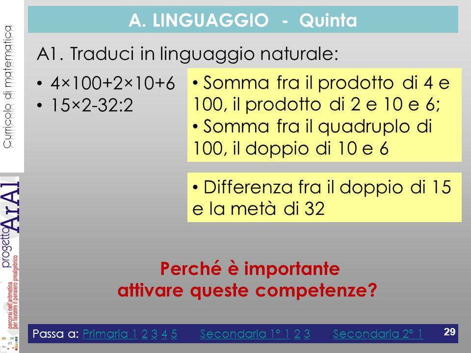 A. LINGUAGGIO - Quinta A1.
