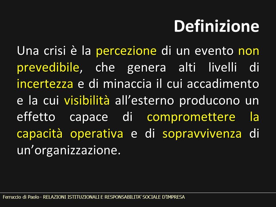 Definizione Una crisi è la percezione di un evento non prevedibile, che genera alti livelli di incertezza e di minaccia il cui accadimento e la cui visibilità all'esterno producono un effetto capace di compromettere la capacità operativa e di sopravvivenza di un'organizzazione.