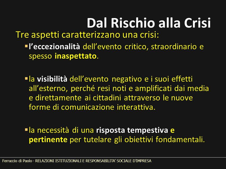 Tre aspetti caratterizzano una crisi:  l'eccezionalità dell'evento critico, straordinario e spesso inaspettato.  la visibilità dell'evento negativo