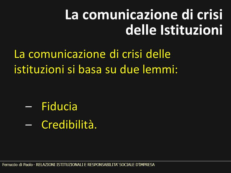 La comunicazione di crisi delle istituzioni si basa su due lemmi: – Fiducia – Credibilità. Ferruccio di Paolo - RELAZIONI ISTITUZIONALI E RESPONSABILI