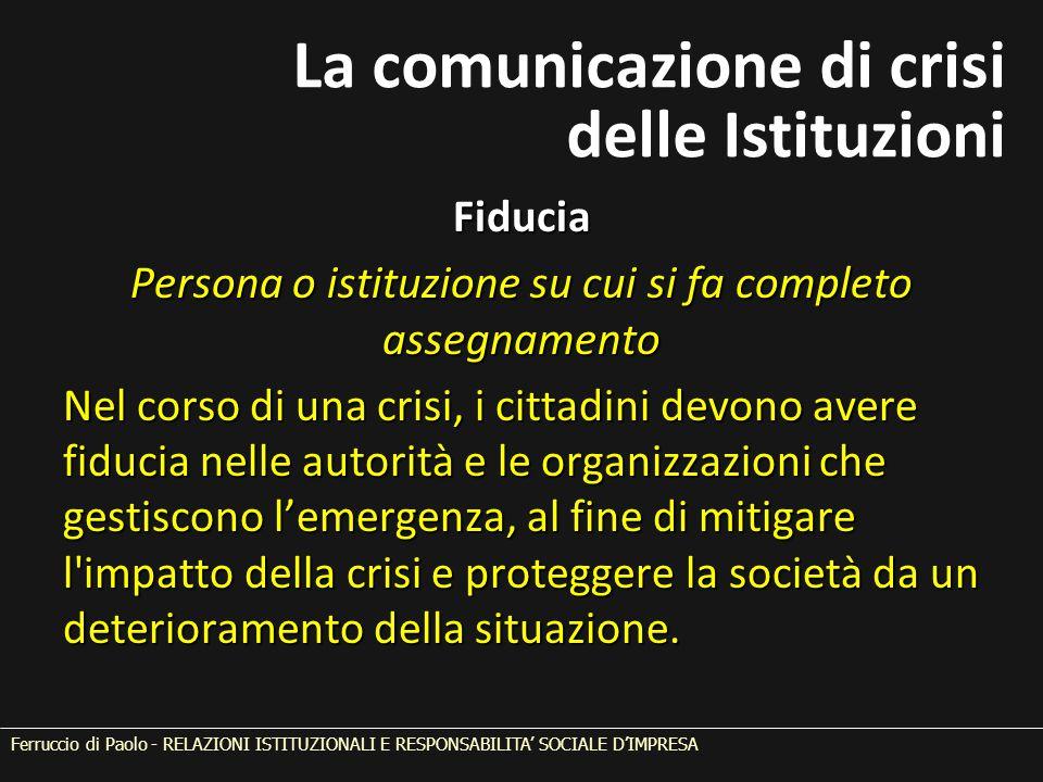Fiducia Persona o istituzione su cui si fa completo assegnamento Nel corso di una crisi, i cittadini devono avere fiducia nelle autorità e le organizz