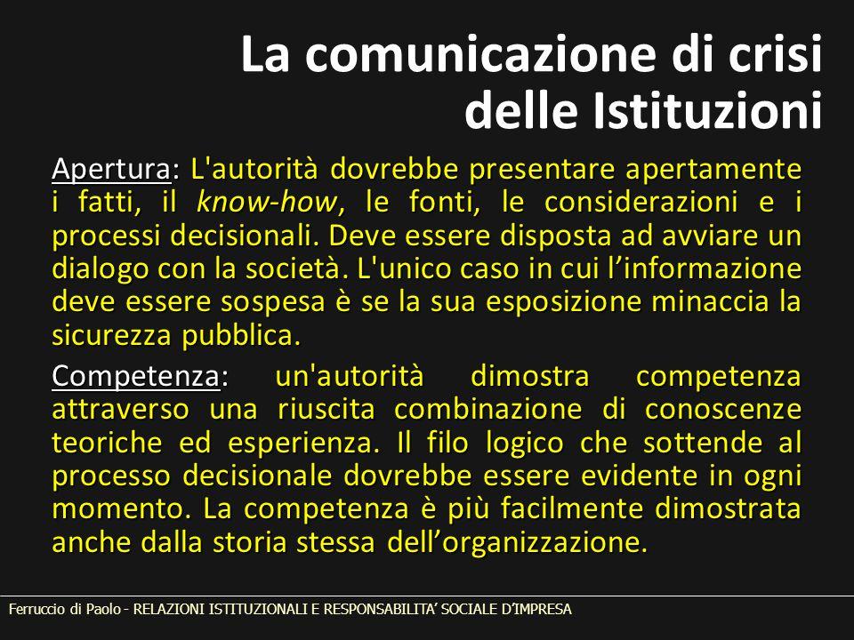 Apertura: L autorità dovrebbe presentare apertamente i fatti, il know-how, le fonti, le considerazioni e i processi decisionali.