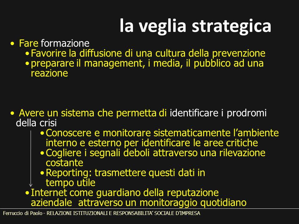 Fare formazione Favorire la diffusione di una cultura della prevenzione preparare il management, i media, il pubblico ad una reazione Avere un sistema