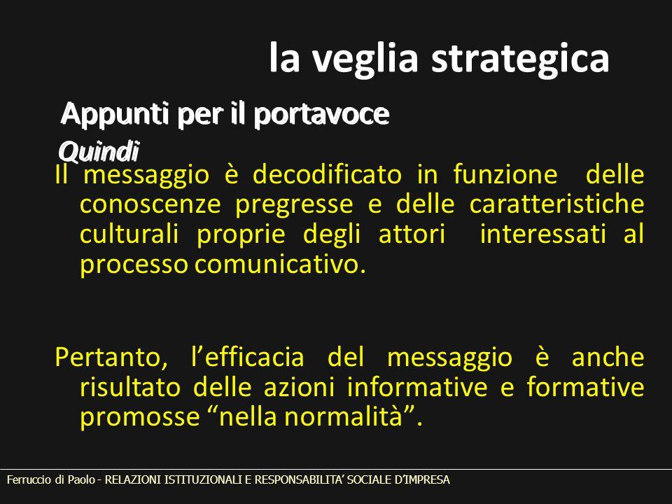 Il messaggio è decodificato in funzione delle conoscenze pregresse e delle caratteristiche culturali proprie degli attori interessati al processo comu