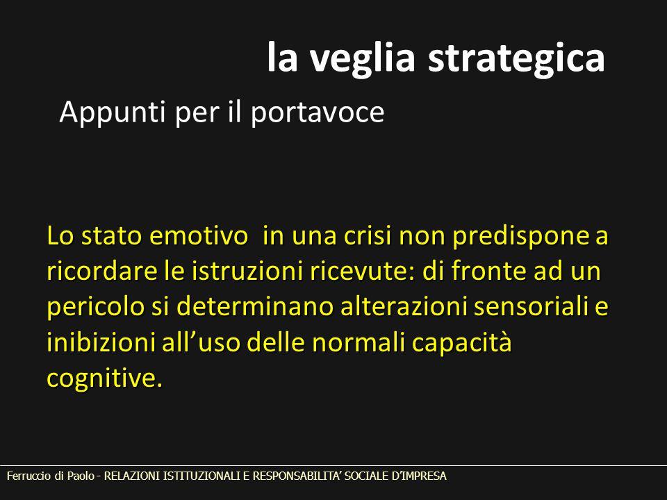Lo stato emotivo in una crisi non predispone a ricordare le istruzioni ricevute: di fronte ad un pericolo si determinano alterazioni sensoriali e inibizioni all'uso delle normali capacità cognitive.