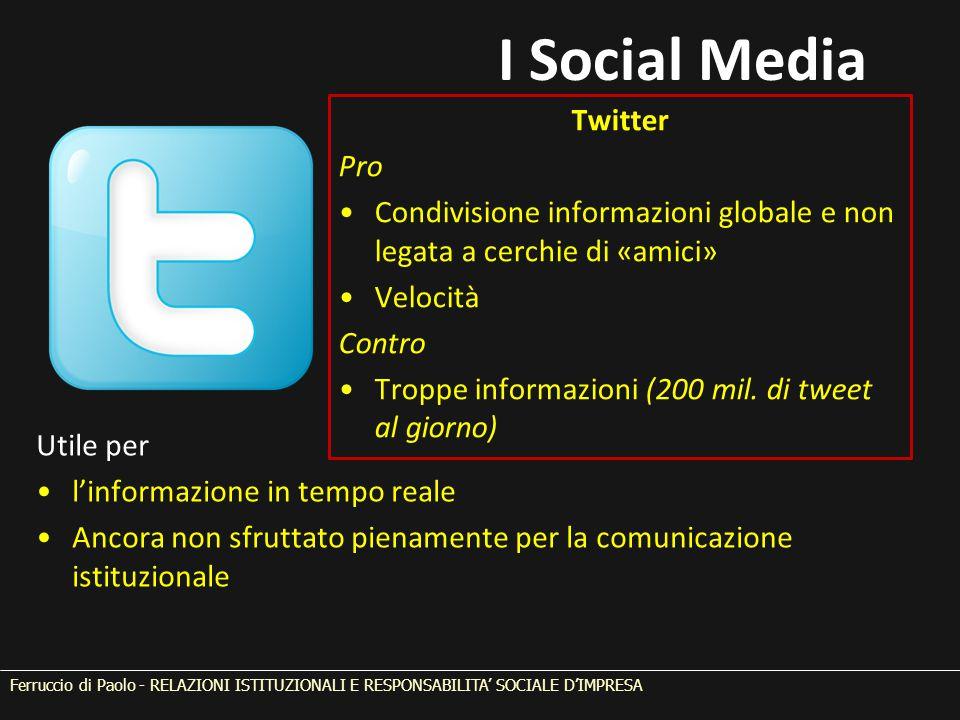 Ferruccio di Paolo - RELAZIONI ISTITUZIONALI E RESPONSABILITA' SOCIALE D'IMPRESA Twitter Pro Condivisione informazioni globale e non legata a cerchie